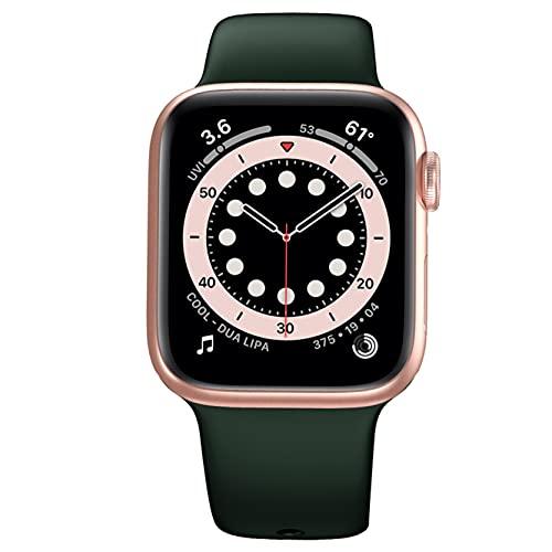 Elástico Solo Loop Compatible con Las Bandas de Apple Watch 42 mm 44 mm, Pulsera de Repuesto elástica con Banda Deportiva de Silicona para iWatch Series SE / 6/5/4/3/2/1 Mujeres Hombres