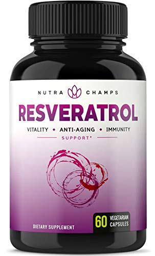 Resveratrol Supplement - Extra Strength 1400mg Formula for Healthy Aging, Immune Support & Heart Health - 60 Vegan Capsules with Trans-Resveratrol, Green Tea Leaf, Acai Berry & Grape Seed Extract