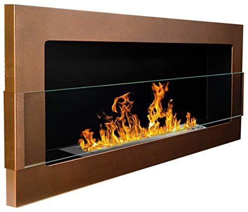 900x400 mm Gelkamin Bio-Ethanolkamin Biokamin Wandkamin dunkelbraun/bronze matt + Glasscheibe inkl. Halterung (TÜV - Rheinland geprüft)