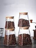 NSWMDSTD Vorratsdosen,1 Pc Square Glas Versiegelte Essen Aufbewahrungsbox Milchpulver Korn Verschlossenen Glas Dosen Kaffee Süßigkeiten Lagertank Mit Bambus Deckel Gadgets Snack Dosen, 500...