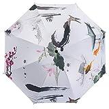 Langchao Sunny Paraguas sombrilla de Vinilo Parasol Protector Solar Estilo Chino Tinta Plegable Arte Antiguo Jardín de Sepia Flor Exterior