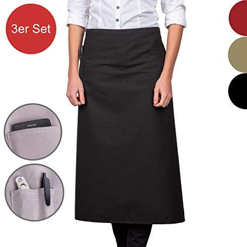 FilzGut Schürze Damen und Herren Kellnerschürzen Küchenschürze Grillschürze Bistroschürze Serviceschürze mit Taschen, Schwarz, 80x80cm