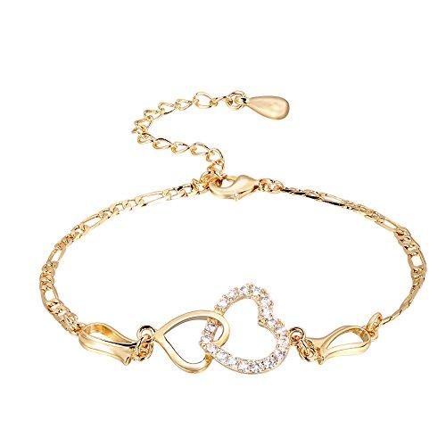 Tobillera de diamantes, Pulsera plateada de cobre de la decoración en forma de corazón de la señora Tobillera de la cadena, mujeres