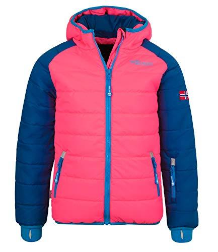 Trollkids Hafjell XT Kinder wasserabweisende Skijacke Winterjacke, Mitternachtsblau / Korallenrot, Größe 140
