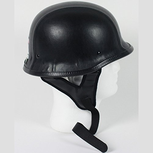 Rodia Black Leather German Motorcycle Helmet DOT (XXXL)