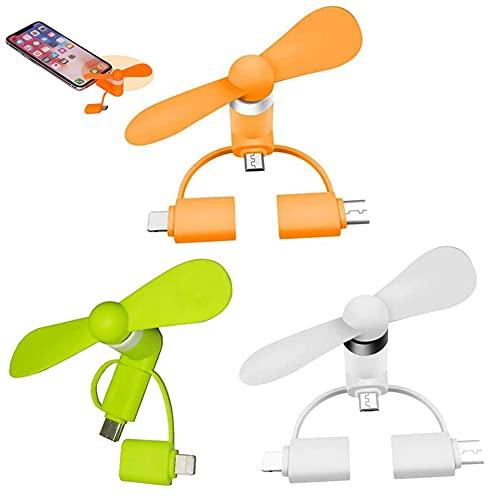 SUNSK USB Mini Ventilator Klein Ventilatoren 3-in-1 Mobile Phone Fan Tragbare Lüfter USB Ventilator Leise für iPhone/iPad, Android ,Micro USB, Typ C-Anschlüsse 3 Stück