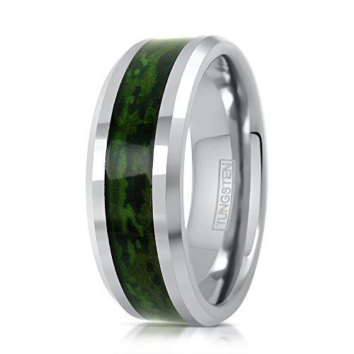 King's Cross Amazing 8mm Silver-Tone Tungsten Carbide Wedding Band w/Forest Green Hunting Camo Inlay (12)