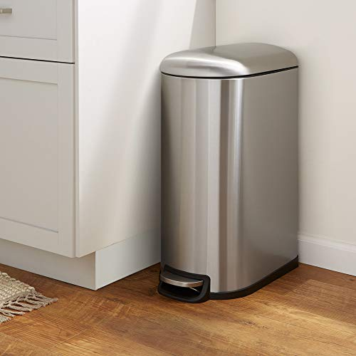 Amazon Basics 40 Liter / 10.5 Gallon Soft-Close Trash Can with Foot Pedal for Narrow Spaces - Stainless Steel