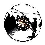Nfjrrm Ven a Pescar Pescador Logo Regla Pescado Pescador Reloj de Pared Lago Pesca Silueta Vinilo Pared Barra de Registro decoración al Aire Libre 30x30 cm