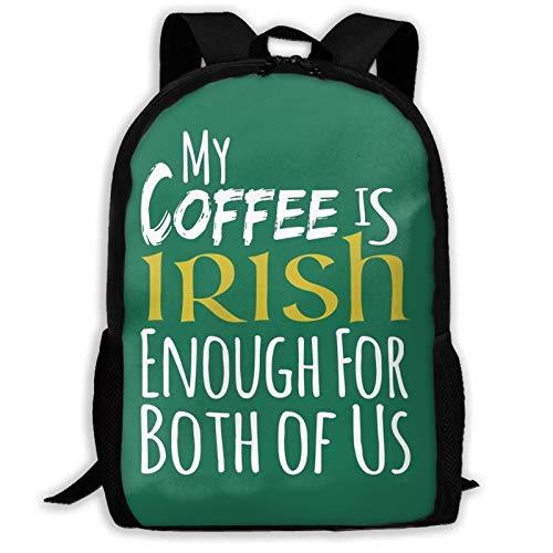 Hdadwy Anime Black Clover St Patri 'S Tag Mein Kaffee ist irisch genug für B Rucksack Umhängetasche Reisetaschen Laptoptasche Schultasche für Jungen Mädchen