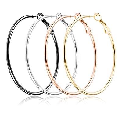 4 Pairs Upgrade Big Hoop Earrings,Medical Titanium Steel Hoop Earrings 18K Gold Plated Rose Gold Plated Silver for Women Girls Sensitive Ears(4 Colors Set) (40mm)