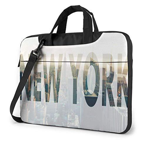 Bolsa de Mano para computadora portátil, Bolsa de Mensajero Funcional de la Ciudad de Nueva York con asa para portátiles de 13 a 15,6 Pulgadas para la Universidad