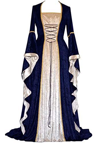 Geplaimir Disfraz medieval para mujer, disfraz de renacentista de terciopelo para Halloween, carnaval, bruja, vampiro, gótico, cosplay, G006EL