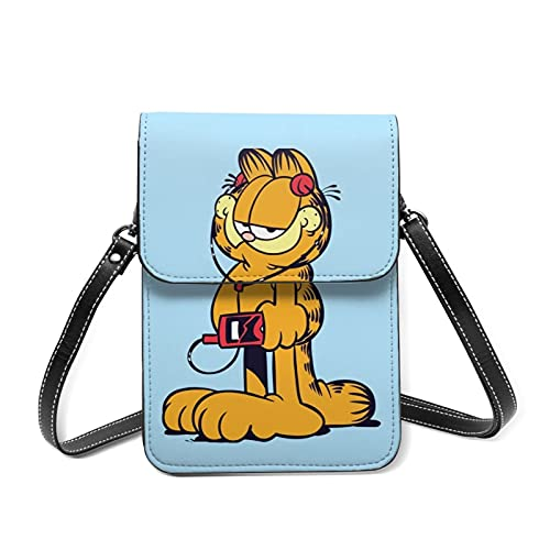 The Garfield Show - Monedero de piel con ranura para tarjetas con correa de hombro desmontable para niña y adolescente