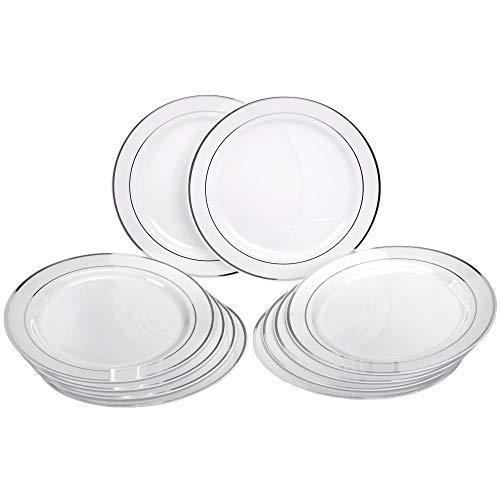 GRÄWE Plastikteller Set in Pozellan-Optik, Ø 26 cm, 10er Pack Einwegteller aus Plastik, Einweggeschirr, Robust, Stabil - EINWEG, 10 Stück - Weiß Silber