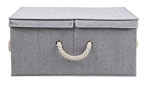 Wasmand met deksel, opvouwbaar, grijs, opbergdoos, bureaublad opbergdoos, stoffen opbergdoos