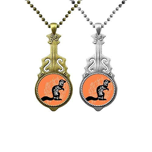 Black Squirrel Animal Outline Natural Music Guitar Pendant Jewelry Necklace Pendant Couple