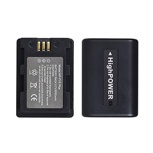 Andoer NP-FV5 Plus Rechargeable Camcorder Battery Pack 3.7V 2000mAh Battery for Sony DV for Andoer 524KM 4K WiFi 1080P Digital Video Camera (2 Packs)
