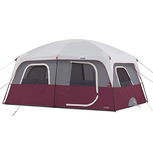 CORE Straight Wall 14 x 10 Foot 10 Person Cabin Tent with 2 Rooms & Rainfly, Red (Renewed)