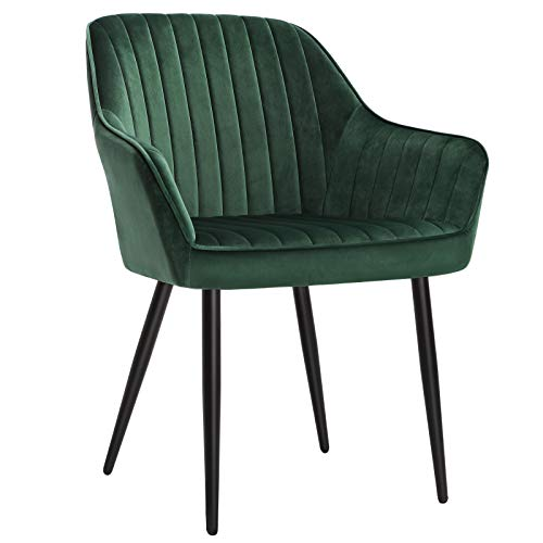 SONGMICS Dining Chair, Kitchen Arm Chair, Upholstered Chair with Armrests, 19.3 Inches Wide Seat, Metal Legs, Velvet Surface, 242 lb Load Capacity, for Living Room Study, Green ULDC087C01