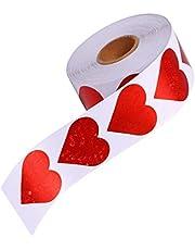 Homoyoyo 500Pcs Rollo de Etiqueta Engomada del Corazón Rojo Pegatinas de Corazón con Purpurina Amor de San Valentín Calcomanía Decorativa Corazón Rojo Scrapbook Etiquetas de Sellado de