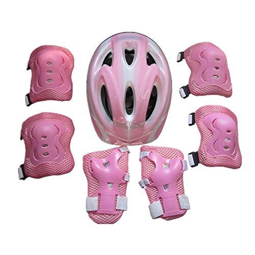 WangsCanis 7 STÜCKE Kinder Sport Helm Schutzausrüstung Set, Schutzhelm Knie Ellenbogenschützer Handgelenkschutz für Fahrrad Skateboard Roller Skating (Rosa-A, 4-12 Jahre)