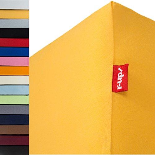 R-up - Sábana bajera ajustable (90 x 200 - 100 x 200 hasta 35 cm, 100% algodón, 130 g/m2, sin estrés), 100 % algodón, Amarillo solar., Doppelpack 90x200-100x200
