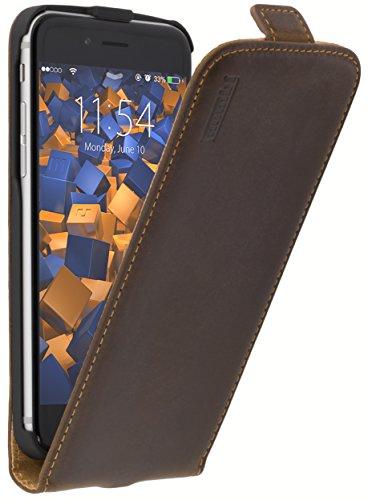 mumbi Echt Leder Flip Case kompatibel mit iPhone 7/8 Hülle Leder Tasche Case Wallet, braun