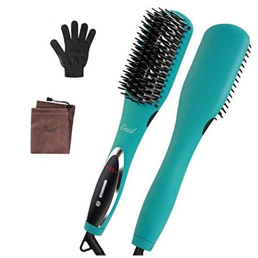 - 41C5EtkLhkL - Hair Straightener Brush Heat Straightening Brush – Fast Heating Ceramic Iron Negative Ions Electric Auto Shut Off & Temperature Control Anti-Scald Dual Voltage