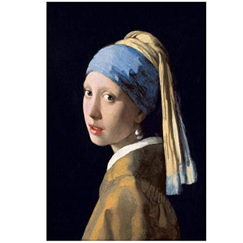 NIEMENGZHEN Druck auf Leinwand Das Mädchen mit dem Perlenohrring Wandgemälde Klassische Porträtkunst Leinwanddrucke Wohnkultur 30x45cm Kein Rahmen