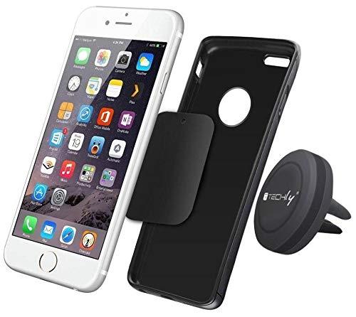 Techly 022298 Supporto Magnetico da Auto per Smartphone e Tablet Nero Nero
