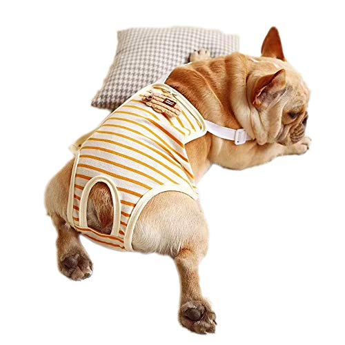 Physiologische Hose für Hunde, verstellbar, waschbar, gestreift, Baumwolle, für französische Bulldogge und kleine Hunde (M, gestreift)