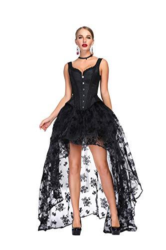 SZIVYSHI Mujer Sexy Gótico Vintage Steampunk Brocado Lace Satén Bone Correa Corset Bustier Top Negro Corsé con Negro Largo Falda XL