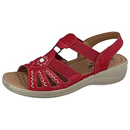 Cushion Walk Ladies Faux Leather Open Toe T Bar Sling Back Lightweight Elastic Strappy Gladiator Summer Sandals Size 3-8