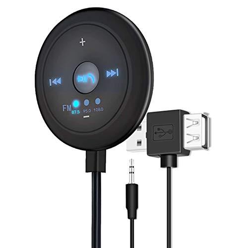 prasku Universal 2 en 1 Car AUX FM Audio Bluetooth V5.0 Transmisor Dock para Teléfono