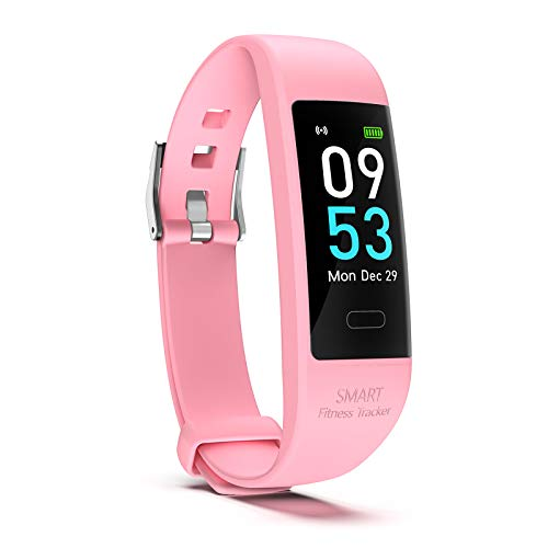 Snoky Fitness Tracker, Heart Rate Monitor Pedometer for Walking Step Activity Sleep Tracker Calorie Counter Smart Bracelet Fitness Band Watch for Women and Men Running Workout Exercise Sports Pink