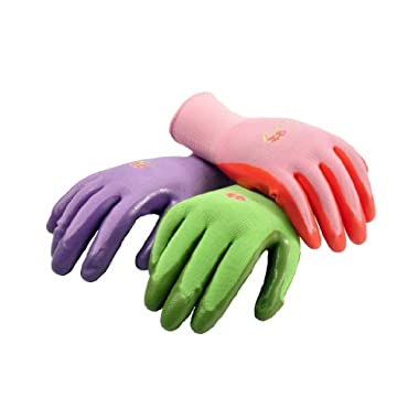 G & F 15226M Women's Garden Gloves, nitrile coated work gloves, assorted colors. Women's Medium, 6 Pair Pack