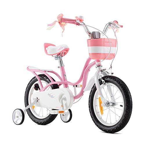 RoyalBaby Kinderfahrrad Mädchen Little Swan Fahrrad Stützräder Laufrad Kinder Fahrrad 14 Zoll Rosa
