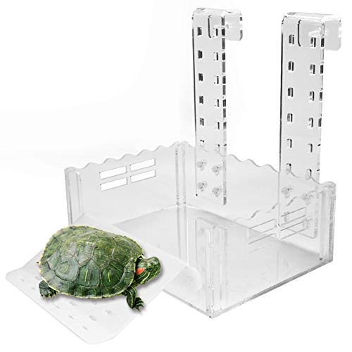 Turtle Basking Platform Multifunctional Acrylic Reptile Ramp Ladder Resting Terrace Turtle Resting Feeding Terrace Aquarium Tortoise Bask Terrace with Hook for Frogs and Other Aquatic Pets