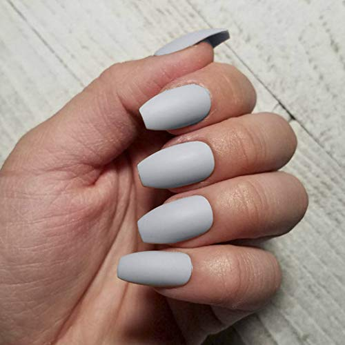 Zehory Gray Matte Fake Nails Coffin Press on Nails Long Full Cover Ballerina Acrylic Artificial False Nails for Women and Girls (24Pcs) (Gray)