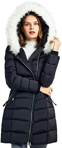 Orolay Women s Down Jacket Winter Bubble Coat Puffer Jacket with Fur Hood Caviar L product image