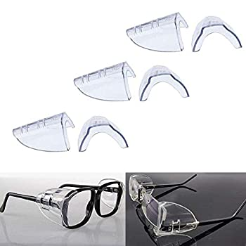 3 Pairs Eye Glasses Side Shields Flexible Slip on Side Shields for Safety Glasses Fits Small to Medium