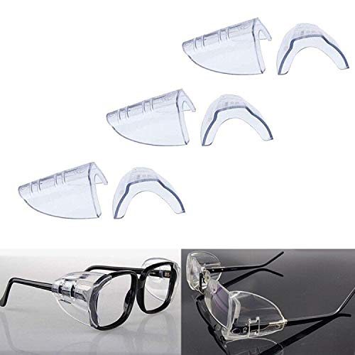 3 Pairs Eye Glasses Side Shields, Flexible Slip on Side Shields for Safety Glasses Fits Small to Medium