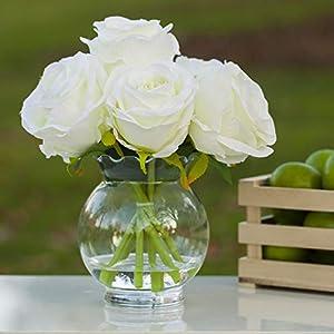 enova home 7 heads artificial silk rose flowers arrangement in clear glass vase for home wedding decoration (cream) silk flower arrangements