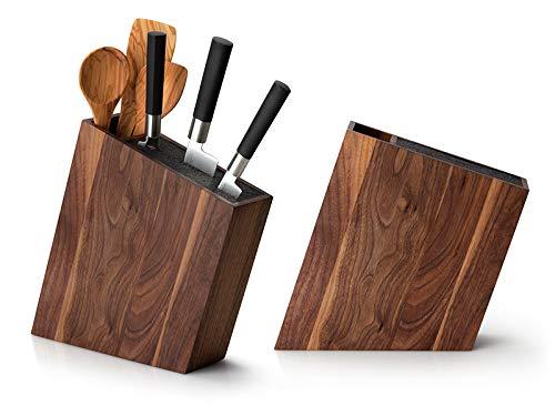 Continenta c4251 Messerblock mit Flexiblem Einsatz & Utensilienbehälter Schräg Walnuss, Wood