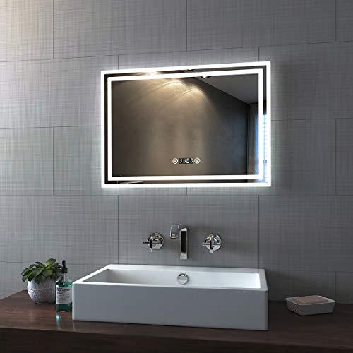 Bath-mann LED Badspiegel 50x70cm Badezimmerspiegel mit Beleuchtung 3 Lichtfarbe 3000-6400K kaltweiß Neutral Warmweiß Lichtspiegel Badezimmerspiegel mit Touchschalter+Beschlagfrei+Uhr