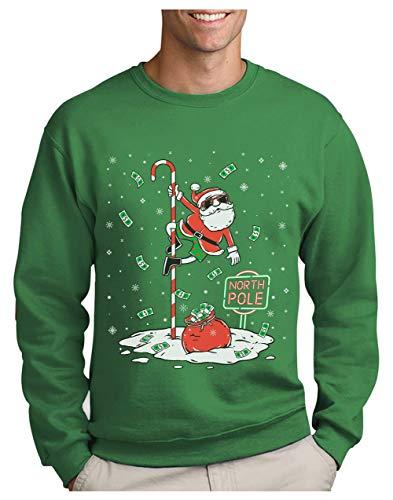 Green Turtle Sudadera para Hombre - Jersey Navidad Hombre Regalo Navidad Divertida - Santa North Pole Dancing - Small Verde
