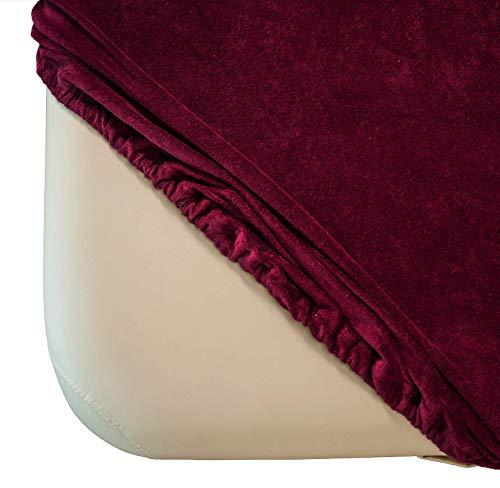 Zen Frottee Spannbezug für Massage-Liegen | passend für 71-81 cm x 185-195 cm | extra weich | waschbar 60° | OEKO TEX 100 | für alle gängigen Kosmetik-Tische und Therapie-Bänke (Burgund)