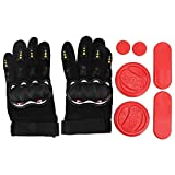 Belissy Guantes para longboard, guantes, guantes para longboard, guantes de protección triple-deslizantes, placa deslizante, equipo de protección deportiva, accesorio de protección (rojo)
