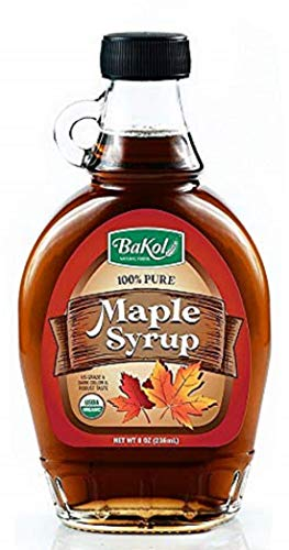 pure maple syrups Bakol Pure Maple Syrup, 8 Ounces (236 mL) - All Natural and Organic Maple Syrup for Pancakes, Waffles, French Toast, and More - US Grade A Maple Syrup, Dark Color, with Robust Taste